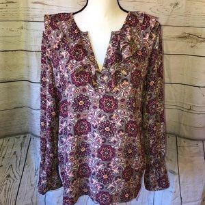 Loft purple & gray ruffle blouse